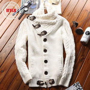 Htlb Brand Autumn Winter Fashion Casual Cardigan Sweater Coat Men Loose Fit 100% Acrylic Warm White / L