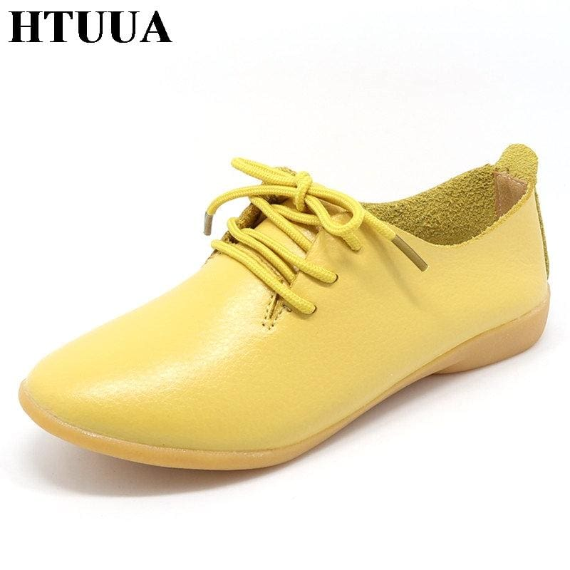 HTUUA Genuine Leather Oxford Shoes For Women Round Toe Lace-Up Casual Shoes Spring And Autumn Flat - MBMCITY