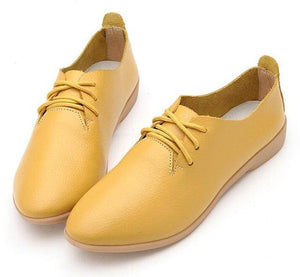HTUUA Genuine Leather Oxford Shoes For Women Round Toe Lace-Up Casual Shoes Spring And Autumn Flat