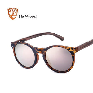 HU WOOD Brand Designer Polarized Sunglasses Men Plastic Frame Wood Earpieces Fashion Oval Sun - MBMCITY