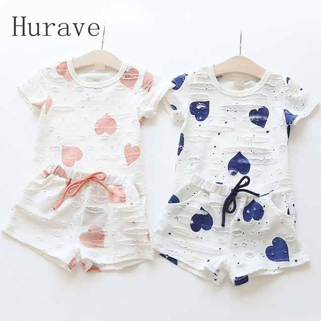 Hurave 2pc Casual Kids Clothing Baby Girls Clothes Sets Summer Heart Printed Girl Tops Shirts + - MBMCITY