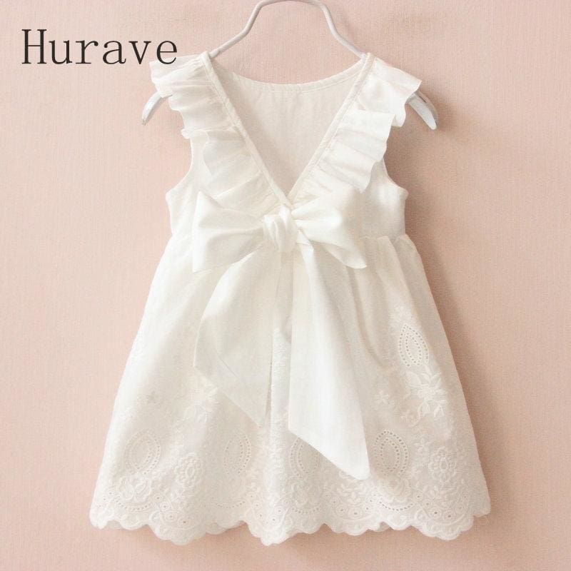 Hurave Girl Dresses Solid White Girl Dresses 2017 Summer Style Children's Clothing Dresses For Girl - MBMCITY