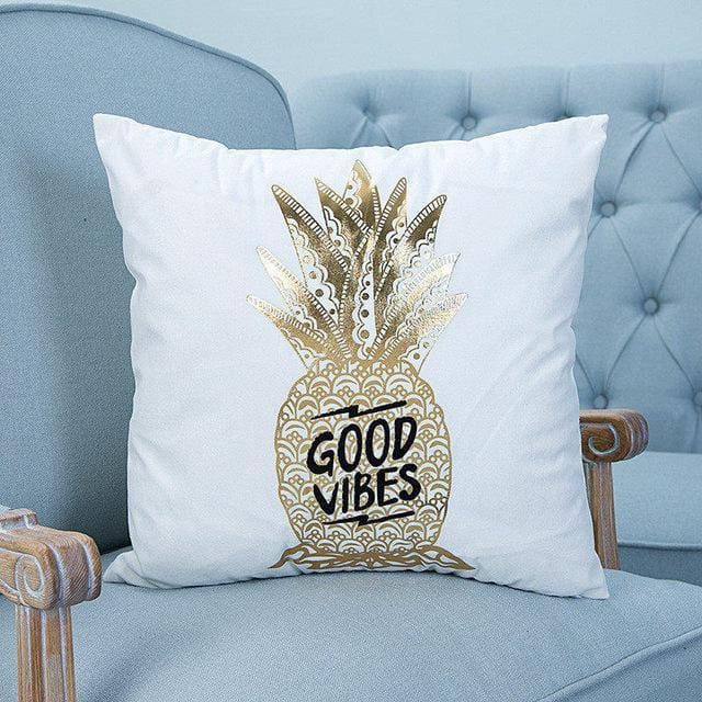 Hyha Bronzing Cushion Cover Printed Pineapple Luxury Tropical Linen Polyester Home Decorative.