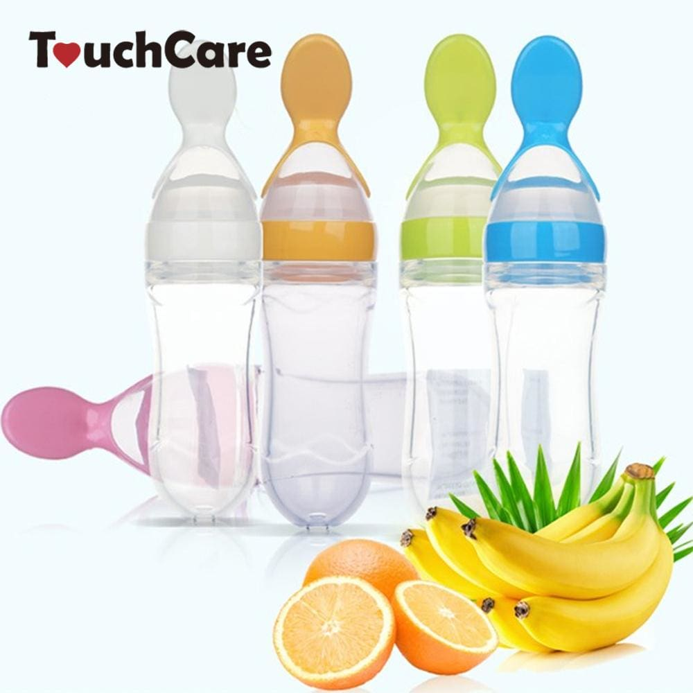 Infant Kids Spoon Baby Feeding Silica Gel Feeding Bottle With Spoon Food Supplement Rice Cereal