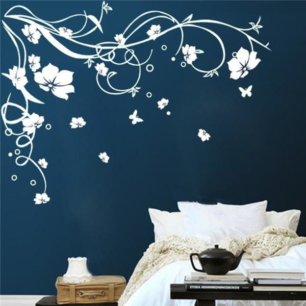 J3 Large Butterfly Vine Flower Vinyl Removable Wall Stickers Tree Wall Art Decals Mural For Living White / 170X120Cm