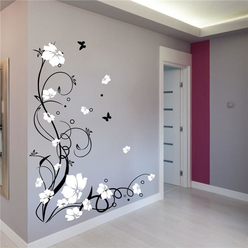J3 Large Butterfly Vine Flower Vinyl Removable Wall Stickers Tree Wall Art Decals Mural for Living