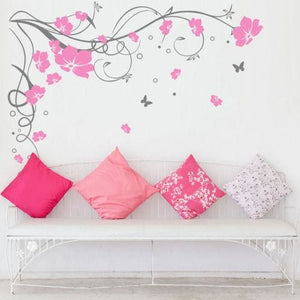 J3 Large Butterfly Vine Flower Vinyl Removable Wall Stickers Tree Wall Art Decals Mural For Living Gray Pink / 170X120Cm