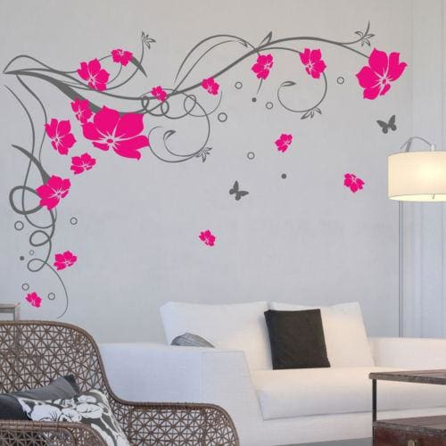 J3 Large Butterfly Vine Flower Vinyl Removable Wall Stickers Tree Wall Art Decals Mural for Living Gray Blush / 170x120cm