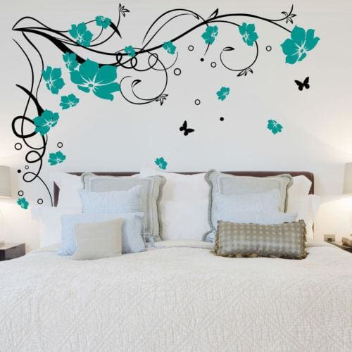 J3 Large Butterfly Vine Flower Vinyl Removable Wall Stickers Tree Wall Art Decals Mural For Living Black Teal / 170X120Cm