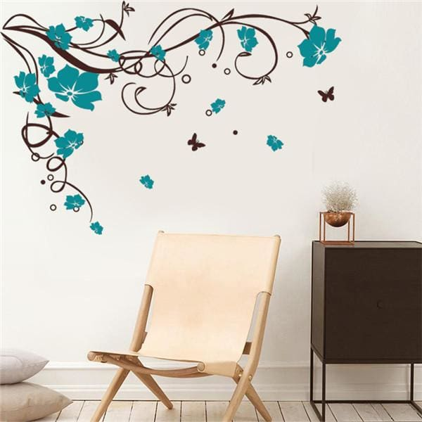 J3 Large Butterfly Vine Flower Vinyl Removable Wall Stickers Tree Wall Art Decals Mural For Living Coffee Teal / 170X120Cm
