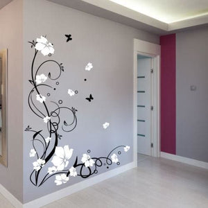 J3 Large Butterfly Vine Flower Vinyl Removable Wall Stickers Tree Wall Art Decals Mural For Living Black White / 170X120Cm