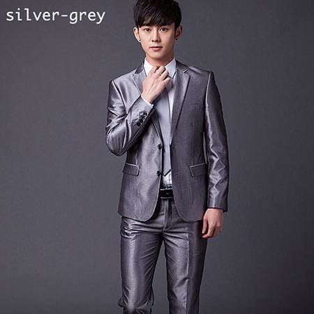 (Jakcet+Pant+Tie) Mens Formal Two Buttons Suits Slim Fit Work Wedding Suits For Men Xs-3Xl Bright Grey / Xs