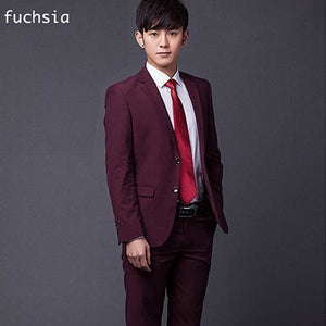 (Jakcet+Pant+Tie) Mens Formal Two Buttons Suits Slim Fit Work Wedding Suits For Men Xs-3Xl Fuchsia / Xs