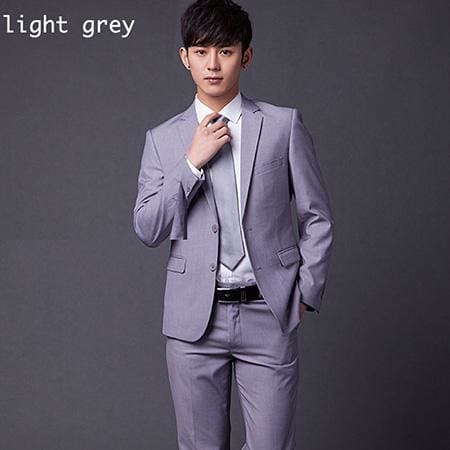 (Jakcet+Pant+Tie) Mens Formal Two Buttons Suits Slim Fit Work Wedding Suits For Men XS-3XL light grey / XS