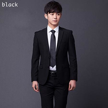 (Jakcet+Pant+Tie) Mens Formal Two Buttons Suits Slim Fit Work Wedding Suits For Men XS-3XL black / XS