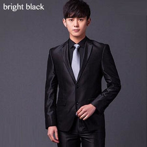 (Jakcet+Pant+Tie) Mens Formal Two Buttons Suits Slim Fit Work Wedding Suits For Men XS-3XL bright black / XS