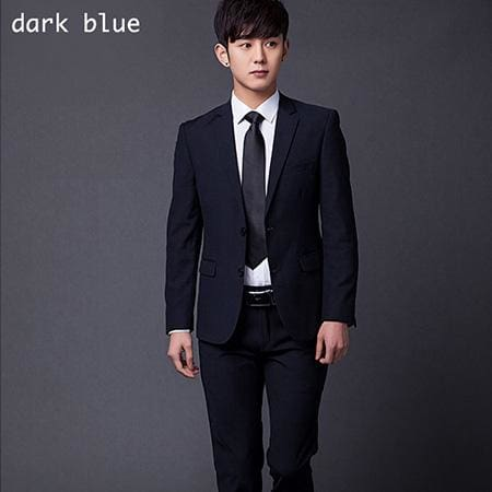 (Jakcet+Pant+Tie) Mens Formal Two Buttons Suits Slim Fit Work Wedding Suits For Men XS-3XL dark blue / XS