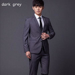 (Jakcet+Pant+Tie) Mens Formal Two Buttons Suits Slim Fit Work Wedding Suits For Men XS-3XL dark grey / XS