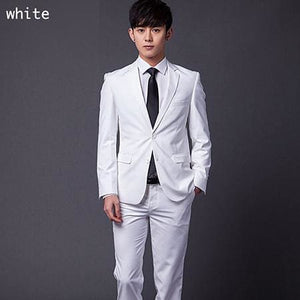 (Jakcet+Pant+Tie) Mens Formal Two Buttons Suits Slim Fit Work Wedding Suits For Men Xs-3Xl White / Xs