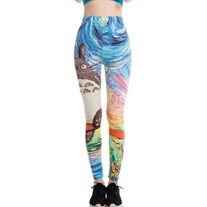 Japanese Harajuku Totoro Print Leggins Push Up Fitness Sexy Cartoon 3D Graffiti Women Casual Funny Ddk108 / One Size
