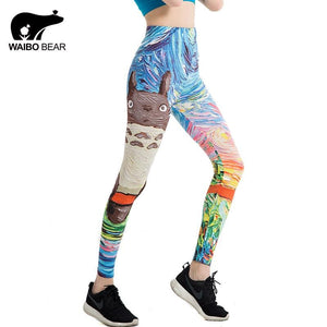 Japanese Harajuku Totoro Print Leggins Push Up Fitness Sexy Cartoon 3D Graffiti Women Casual Funny