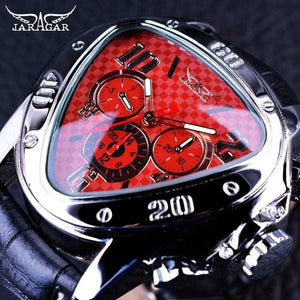 Jaragar Sport Racing Design Geometric Triangle Design Genuine Leather Strap Mens Watches Top Brand Red
