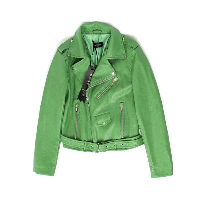 JAZZEVAR New Autumn Fashion Street Women's Short Washed PU Leather Jacket Zipper Bright Colors.