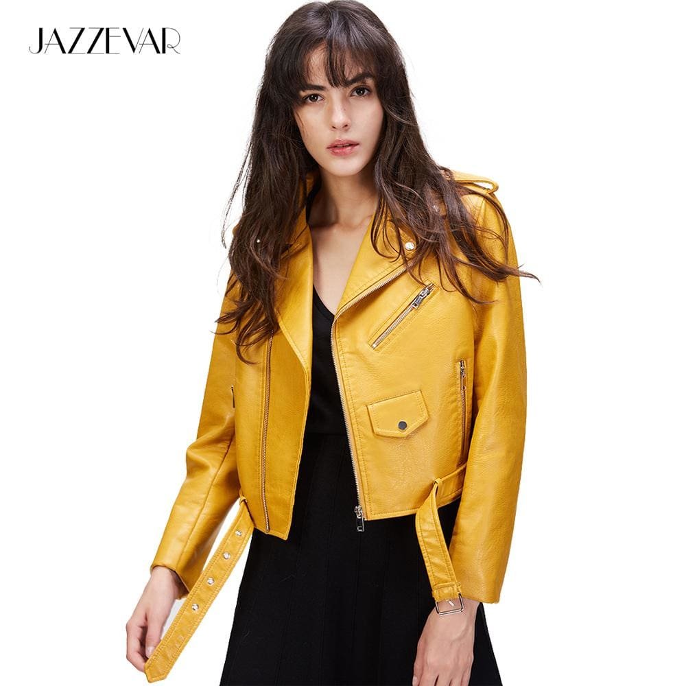 JAZZEVAR New Autumn Fashion Street Womens Short Washed PU Leather Jacket Zipper Bright Colors