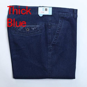 Jeans Man Middle-Aged Denim Jeans Casual Middle Waist Loose Long Pants Male Solid Straight Jeans For Thick Blue / 30