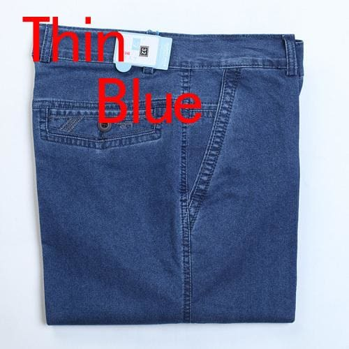 Jeans Man Middle-Aged Denim Jeans Casual Middle Waist Loose Long Pants Male Solid Straight Jeans For Thin Blue / 30