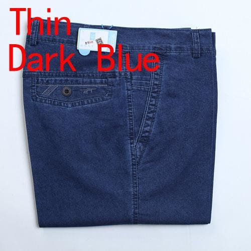 Jeans Man Middle-Aged Denim Jeans Casual Middle Waist Loose Long Pants Male Solid Straight Jeans For Thin Dark Blue / 30