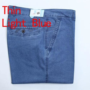 Jeans Man Middle-Aged Denim Jeans Casual Middle Waist Loose Long Pants Male Solid Straight Jeans For Thin Light Blue / 30