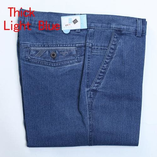 Jeans Man Middle-Aged Denim Jeans Casual Middle Waist Loose Long Pants Male Solid Straight Jeans For Thick Light Blue / 30