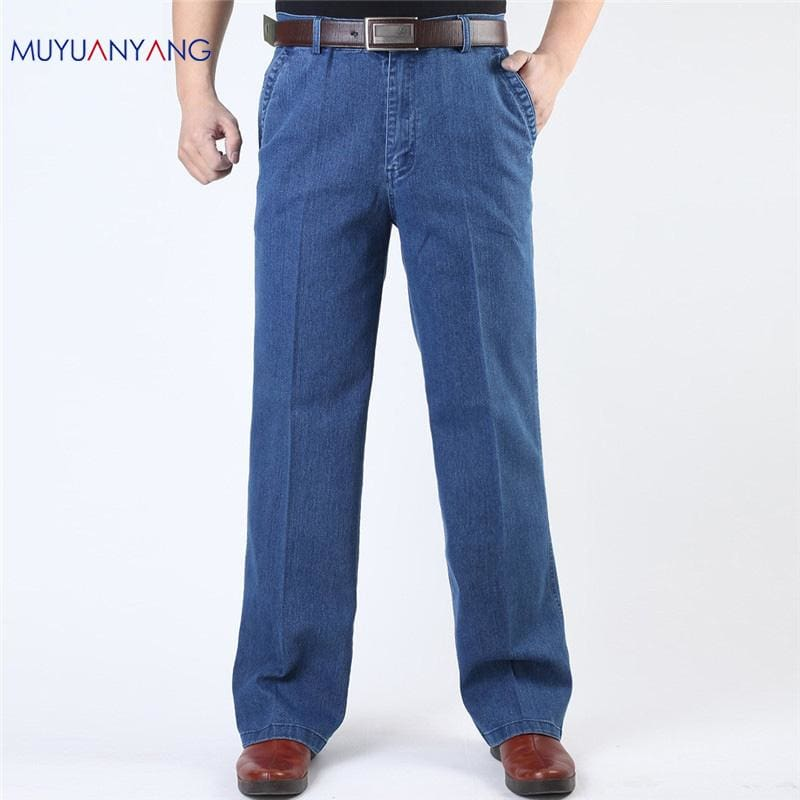 Jeans Man Middle-aged Denim Jeans Casual Middle Waist Loose Long Pants Male Solid Straight Jeans For