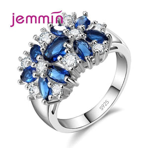 Jemmin Top Grade 925 Sterling Silver Brand Jewelry New Stylish Sparkly Flower Crystal Ring Women