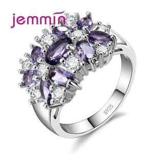 Jemmin Top Grade 925 Sterling Silver Brand Jewelry New Stylish Sparkly Flower Crystal Ring Women 6 / Dark Blue