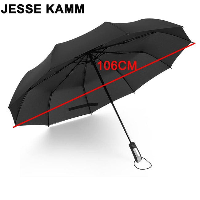JESSE KAMM New Fully-automatic Three Folding Male Commercial Compact Large Strong Frame Windproof - MBMCITY