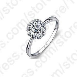 JEXXI High Quality 3 Styles AAA Cubic Zirconia 925 Sterling Silver Jewelry Classic Engagement Ring