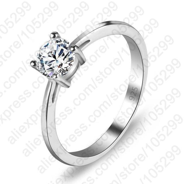 JEXXI High Quality 3 Styles AAA Cubic Zirconia 925 Sterling Silver Jewelry Classic Engagement Ring 6 / round cz