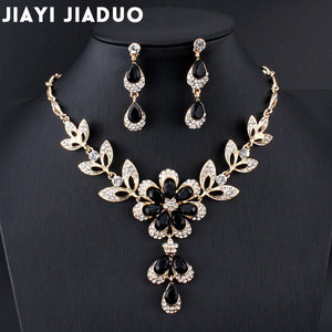 jiayijiaduo Hot African female costume Jewelry set for women Gold color Black Red Golde-color