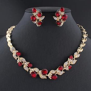 Jiayijiaduo Wedding Dress Jewelry Set For Charm Of Women Red Black White Necklace Earrings Set Of 1
