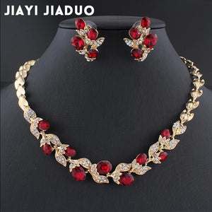 jiayijiaduo Wedding dress jewelry set for charm of women red black white necklace earrings set of