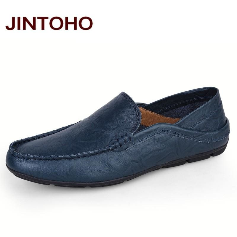 JINTOHO big size 35-47 slip on casual men loafers spring and autumn mens moccasins shoes genuine - MBMCITY
