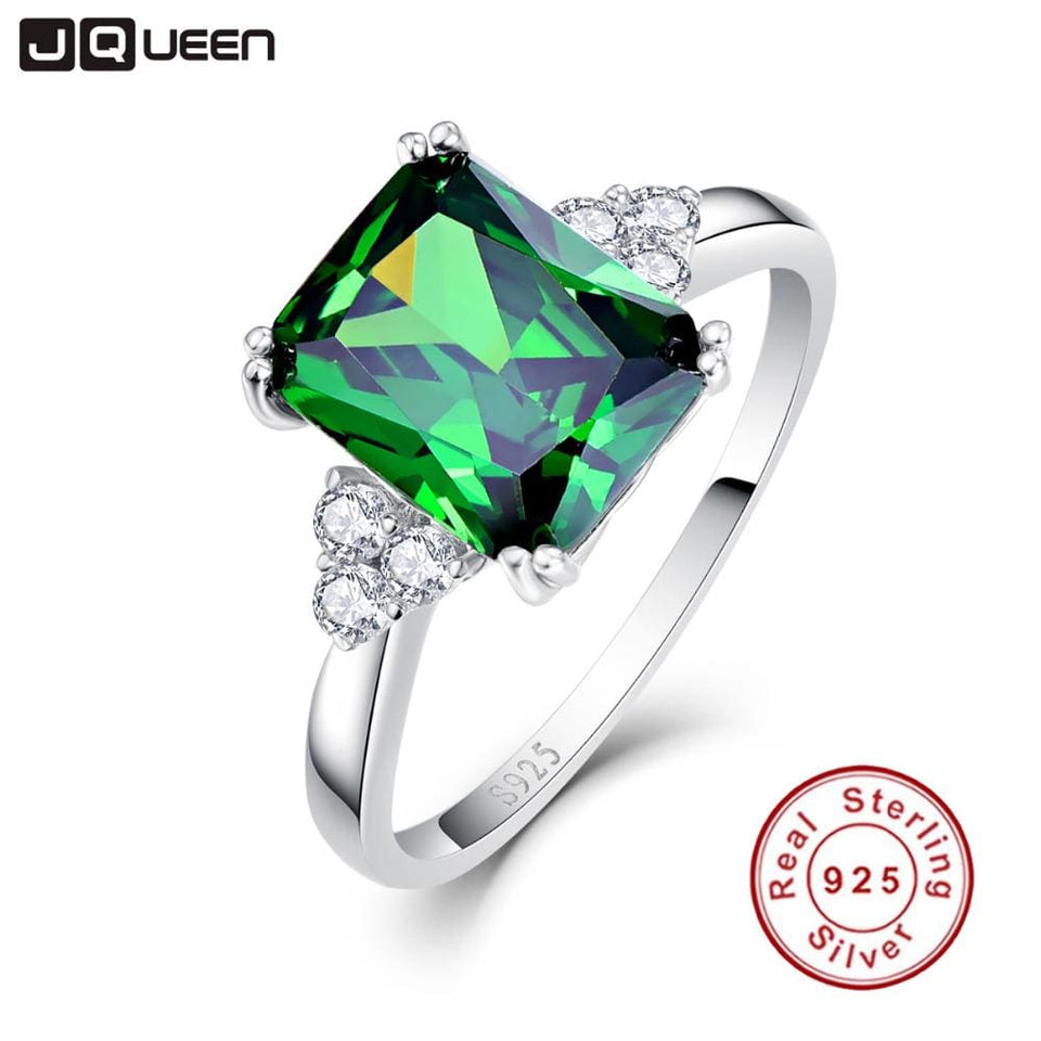 JQUEEN New Fashion 5.3ct Nano Russian Emerald Ring 925 Solid Sterling Silver Set High Quality Best - MBMCITY