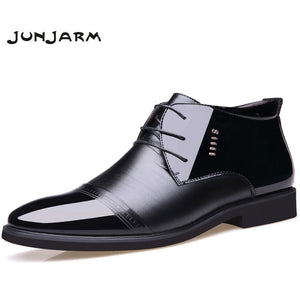 JUNJARM 2017 New Designer Men Boots Microfiber Men Winter Shoes Wool Inside Warm Snow Shoes Black - MBMCITY