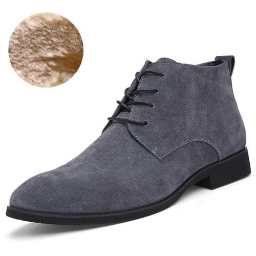 Junjarm Genuine Leather Men Ankle Boots Breathable Men Leather Boots High Top Shoes Outdoor Casual Gray With Fur / 6.5