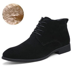 Junjarm Genuine Leather Men Ankle Boots Breathable Men Leather Boots High Top Shoes Outdoor Casual Black With Fur / 6.5