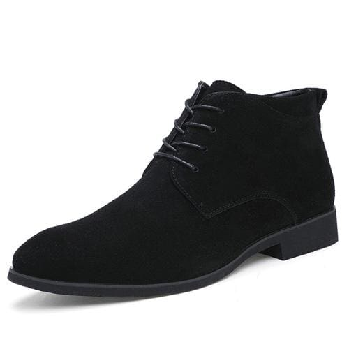 Junjarm Genuine Leather Men Ankle Boots Breathable Men Leather Boots High Top Shoes Outdoor Casual Black / 6.5