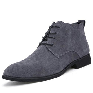 Junjarm Genuine Leather Men Ankle Boots Breathable Men Leather Boots High Top Shoes Outdoor Casual Gray / 6.5