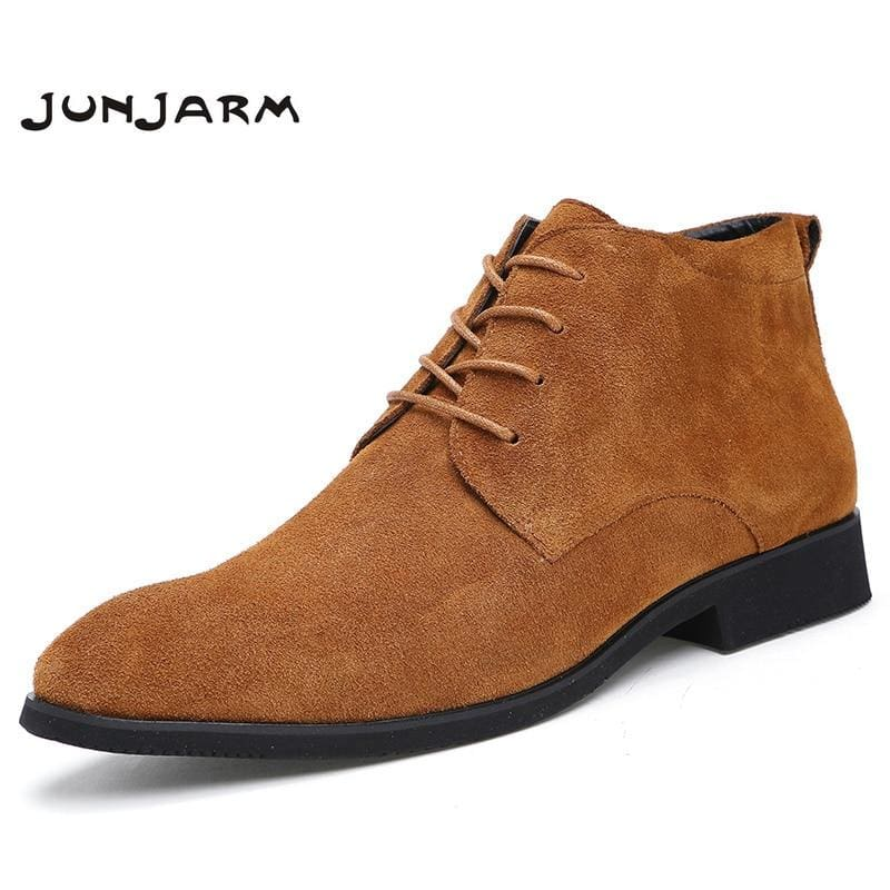 Junjarm Genuine Leather Men Ankle Boots Breathable Men Leather Boots High Top Shoes Outdoor Casual